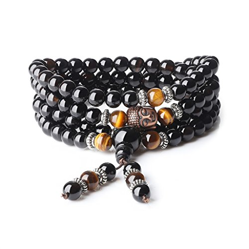 coai Onyx Tiger Eye 108 Mala Beads Prayer Bracelet Necklace