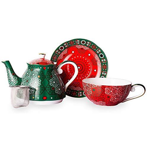 Teeservice 500 Ml Knochen China Tee-Set Teekanne Tee-Tablett Tee Und Kaffee for Home-Office-Weihnachtstee Teekanne Set (Farbe : Grün, Größe : 17x17.6cm)