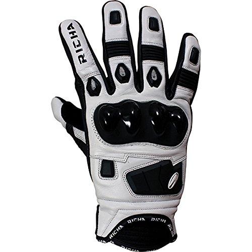 Richa Rock - Guantes cortos de piel para motocicleta, color negro