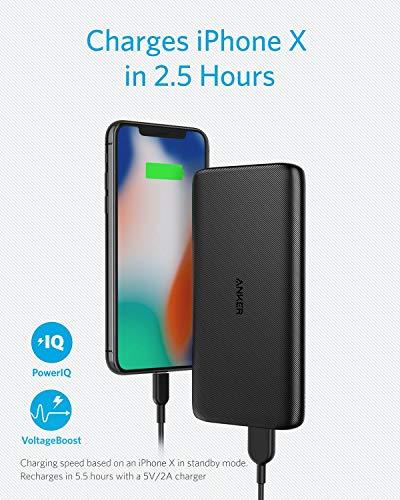 Anker PowerCore Lite 10000 mAh Power Bank, Batterie Externe puissante, Mince et compacte pour iPhone...