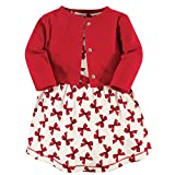 Touched by Nature Baby Girls Organic Cotton Dress and Cardigan, Bows, 0-3 Months