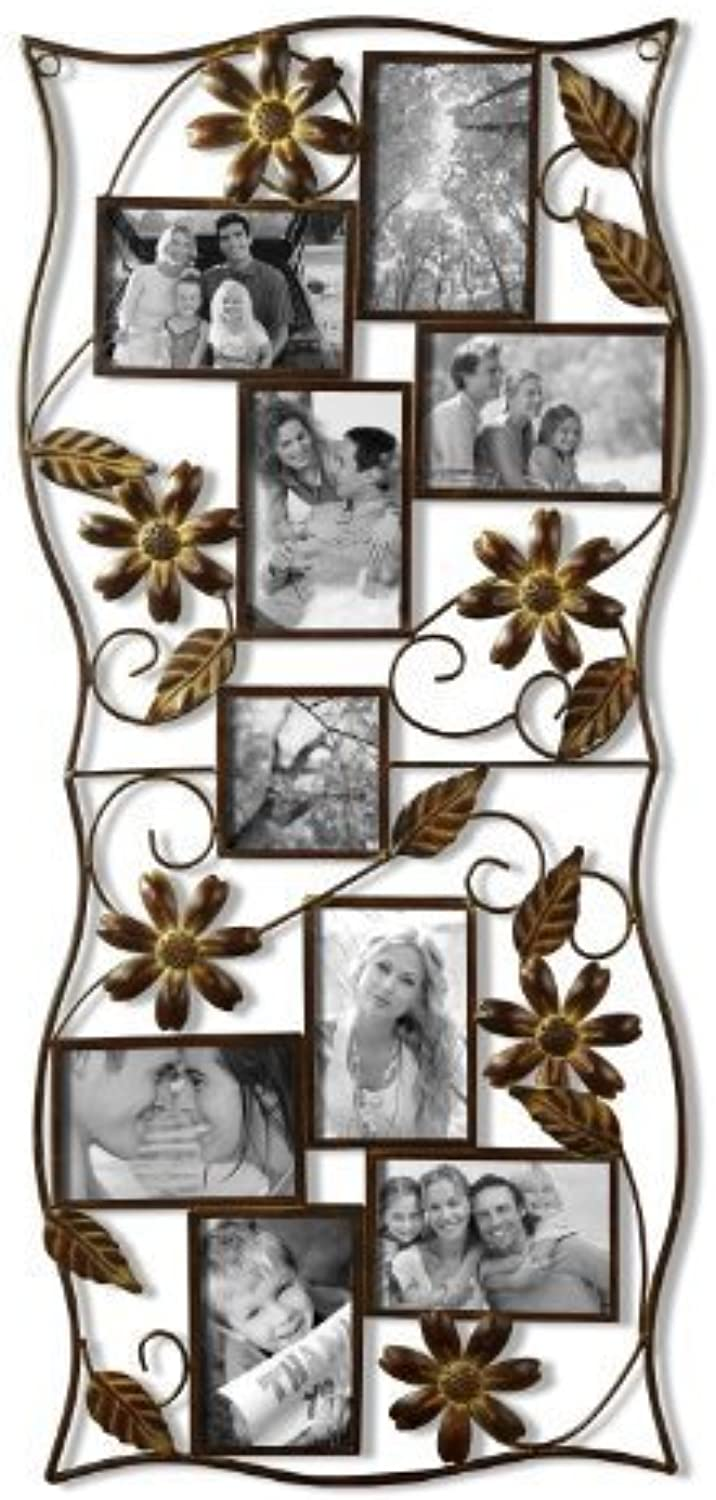Adeco PF0530 9-Opening Decorative Bronze Iron Wall Hanging Collage Photo Frame, 4 by 6