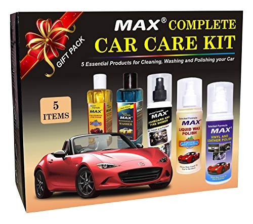 Max Complete Car Care Kit (Dashboard/Tyre Shiner, Liquid Wax/Vinyl/Leather Polish, Windshield Washer, Car Shampoo/Polish-200ml and Foam 3 Pcs)