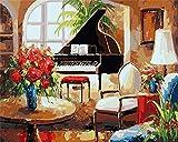 LDAAKL Pintura por números para adultos, kit de pintura al óleo de lienzo, decoración del hogar, regalo de arte de piano, flor de 40 x 50 cm