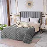 Waterproof Blanket Dog Bed Cover - RBSC Home Non Slip Large Sofa Cover Incontinence Mattress Protectors for Pets Dog Cat with 1 Brush (5282GRAY)