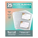 Samsill 25 Pack Clear 4x6 Recipe Card Protectors, Recipe Organizer Fits Standard 3 Ring Bi...