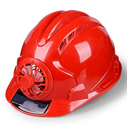 HONGY Casco Ventilado Lugar de Trabajo Protector Pantalla Duro Energía Solar Seguridad Construcción Ciclismo Ajustable Exterior Seguridad con Ventilador Sombrero (Amarillo) - Rojo, Free Size