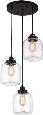 Weesalife Pendant Light with Transparent Glass Shade Matte Black 3-Lights Pendant Lighting Adjustable Industrial Retro Style