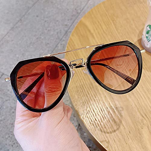 Gafas De Sol Gafas De Sol Clásicas Moda para Niños Gafas De Sol Coloridas con Espejo Marco De Metal Gafas para Exteriores para Niñas Negro-C-2