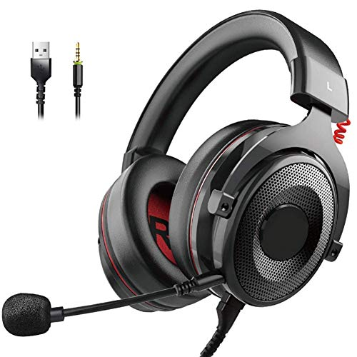 RZJMYUE Gaming Headset with Noise Canceling Mic, Headset with 7.1 Surround Sound for PC, PS4, 3.5 Mm Headphone Jack