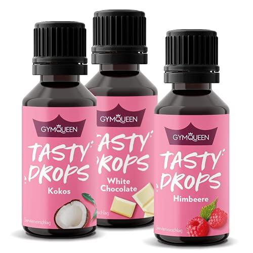 GymQueen Tasty Drops 3x30ml - Kalorienfreie, Zuckerfreie und Fettfreie Flavour Drops - Aroma Tropfen zum Süßen von Lebensmitteln - Geschmackstropfen ohne Künstliche Farbstoffe - Sommer Mix