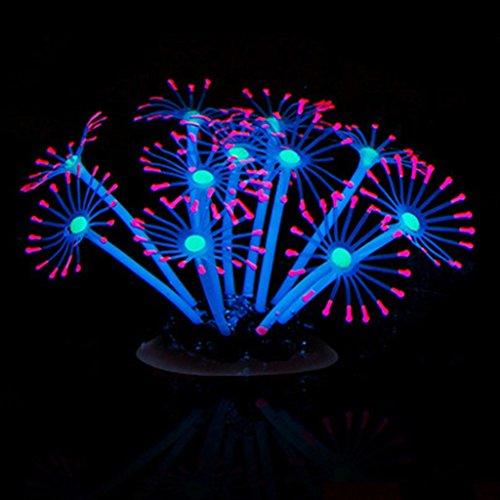 Naisicatar - Hermoso adorno de coral artificial brillante para decoración de acuario de peces, silicona de limpieza sencilla y segura para agua dulce y salada