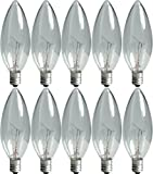 GE Crystal Clear Blunt Tip Decorative Light Bulbs (40 Watt), 280 Lumen, Candelabra Light Bulb Base, 10-Pack Chandelier Light Bulbs