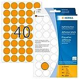 Herma 2254 - Etiquetas multiuso, diámetro 19 mm, redondo, papel mate, papel de soporte perforado, 960 unidades, color naranja luminoso
