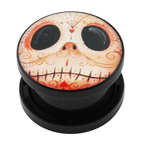 8MM Stammes-Mr Jack Logo Bild schwarz UV Acryl Schraube Fit Fleisch Tunnel Ohrenpiercing