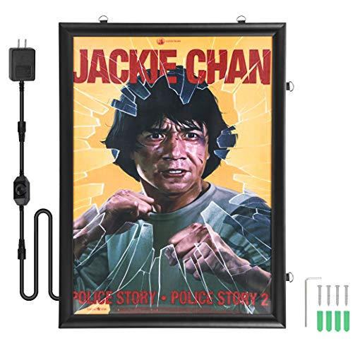 "Spolehli Led Poster Frame 24""×36"" Snap Frame with Dimmer Switch Illuminated Backlit Movie Poster Frame in Black Adjustable Brightness LED Light Box For Decoration Exhibition Home Theater Advertising Display (24""×36"")"