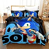 Siyarar Kids Sonic Tails Knuckles Bedding Sets Without Comforter for Boys Girls Twin Size 2 Pieces Including 1 Duvet Cover and 1 Pillowcases Green S7