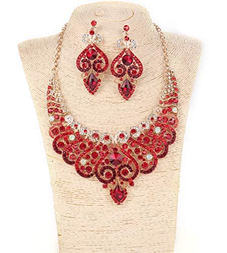 MLHXHX Collar de Damas Conjunto de ganer de Alta Gama Banquete de Lujo Diamante Conjunto de Cristal Collar de joyería de Comercio Exterior Venta al por Mayor Caja de Regalo