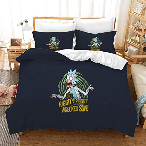 MILAIDI Duvet Cover Sets 3D Rick And Morty Printing Child Adult Bedding Set 100% Polyester Gift Duvet Cover 3 Pieces With 2 Pillowcases B-AU Queen83'*83'(210 * 210cm)
