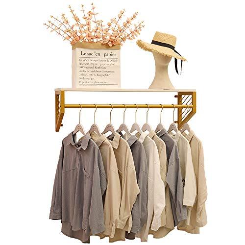 Perchas de pared para tiendas de ropa, Estantes flotantes dorados con percheros, Estantes de exhibición de ropa para minoristas de metal, Para perchas comerciales, vestidores, tiendas de ropa ZDDAB