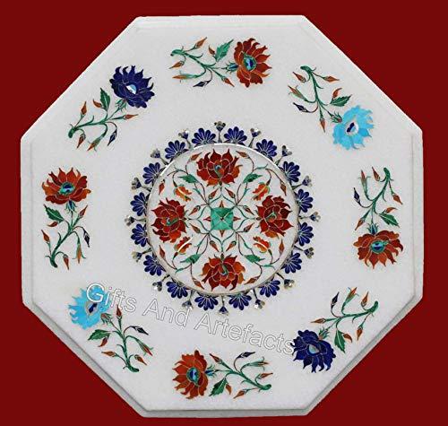 Mesa de café octágono de mármol blanco con incrustaciones de piedra multicolor mesa auxiliar de sofá de trabajo para el hogar de 18 pulgadas