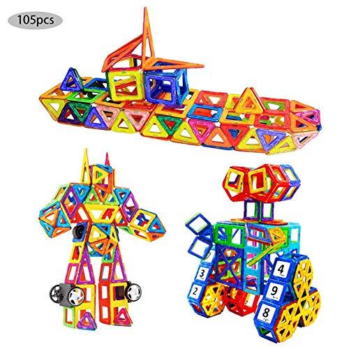 Miju - Lote de 105 bloques de construcción magnéticos, minijuegos de construcción imantados para niños de 3 a 4 años, juguete para bebé, puzles magnéticos, juguetes educativos, juguetes y juguetes