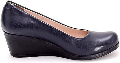 Navy Flight Attendant% 100 Leather Comfort Wedge Heel Shoes