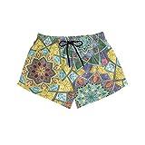 BONIPE - Bañador para mujer, diseño vintage colorido con mandala de secado rápido, con cordón y bolsillos, talla S Multicolor multicolor M