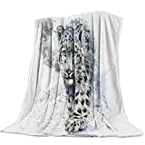 Flannel Fleece Blanket Wild Snow Leopard Animals Watercolor Predator Wildlife Silhouette Soft Breathable Lightweight Throw Blankets Bedspread for Home Sofa Couch All Seasons Use - Queen 50x80in