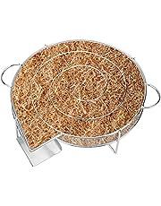 LINGSFIRE Smoker Rookbox BBQ Grill Houtsnippers Roker Grill Accessoires Draagbare Ronde Roestvrijstalen Smokerbox Met Handgrepen Vleesrokers Voor Gas & Houtskoolgrills, Beste Grilcadeau voor Papa