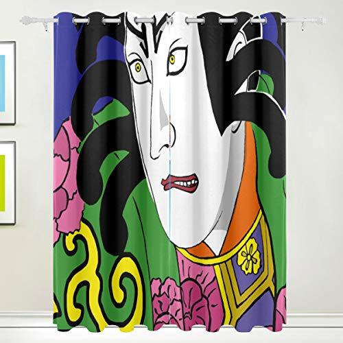MOBEITI Vorhänge Blickdicht Lichtundurchlässig Verdunkelungsvorhänge,Kabuki Traditionelle Kunst,Wärmeisolierung für Schlafzimmer Wohnzimmer,W168*L183cm 2er Set