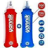 YANNIK 2X Soft Flask Gourde Souple d'eau Flexible 500ml Bleu + Rouge | Bidon d'eau Bouteille Sportive étanche Antibactérien sans BPA | Sport Camping Running Vélo Randonnée