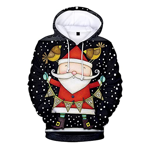 BGUK Sudadera con capucha para hombre, diseño de Navidad, divertida, unisex, manga larga, con impresión 3D, par de sudaderas cálidas, Negro , XL