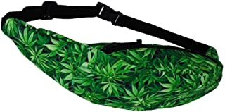 ABOOFAN Leaf Pattern Waist Outdoor Portable Bag Creative Fanny Pack (Green)