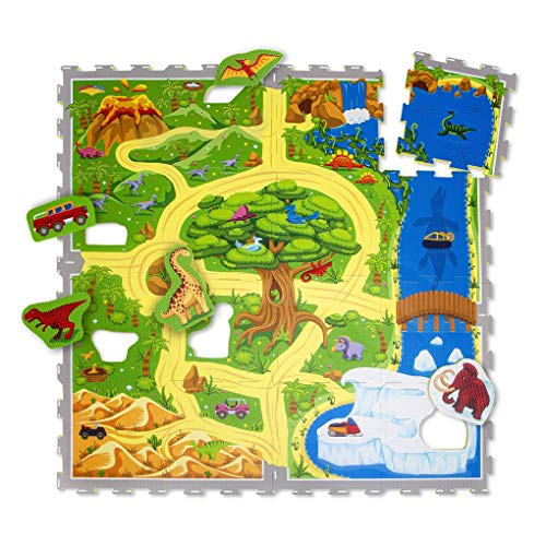 Hakuna Matte Puzzlematte für Babys Dinosauriersafari 1,2x1,2m, 16 Fliesen – 20% dickere Spielmatte in Einer umweltfreundlichen Verpackung – schadstofffrei, geruchlos, TÜV Formamid geprüft
