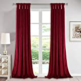 Red Velvet Curtains for Theater - Twist Tab Design Decorative Drapes for Holiday Living Room Window Dressing, Light Blocking Panels for Master Room, 52 x 96-inch, 2 Panels