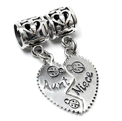 Queenberry Charm in argento Sterling, con cuore spezzato 'Aunt Niece', per bracciali Pandora, Biagi, Troll, Chamilia