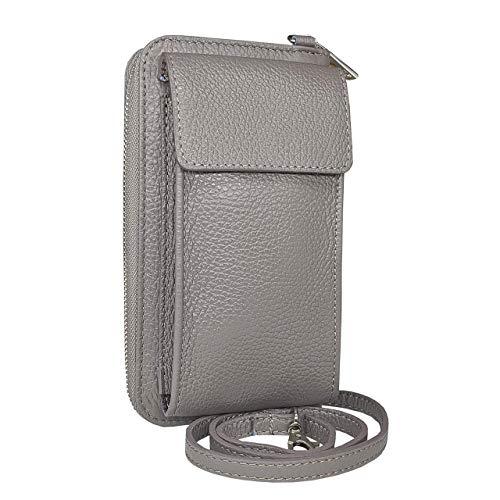 SKUTARI® LEDER BARILLI Damen Handy Umhängetasche | Geldbörse, Handytasche zum umhängen | Multifunktionsbeutel Geldtasche | ital. Damen Schultertasche | Verstellbar Schultergurt | Handy Mini-Tasche |