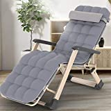 SCJ Tumbona Plegable para jardín, tumbonas, sillas Resistentes de Gravedad Cero, tumbonas de jardín al Aire Libre, cómodos sofás, Gris + Almohadilla de algodón Perlado