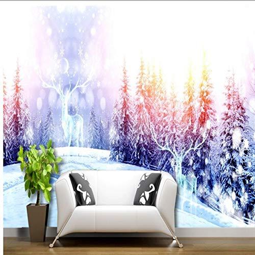 Wuyii Behang 3D Winter Snowy Mountain Pine Elk Mysterious White World Woonkamer Hotel achtergrond muurschildering 400 x 280 cm.