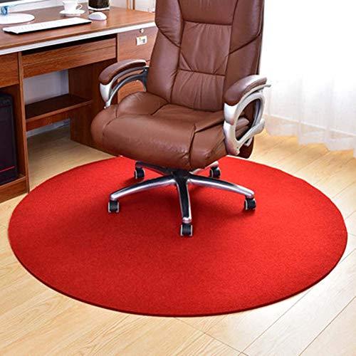 YINN Alfombrilla redonda para silla de pelo bajo, resistente a los arañazos, alfombrilla antideslizante, alfombrilla para silla de ruedas de fácil deslizamiento, cortable (rojo, 110 cm de diámetro)