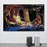 Carteles religiosos navideños imprime el nacimiento de Jesús pintura al óleo sobre lienzo cuadro de arte de pared escandinavo para decoración de sala de estar / 60x90cm sin marco
