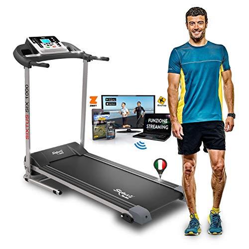 Sixtus Six 1000 - Cinta de Correr Eléctrica Plegable 1 HP (2,5 HP pico) 10 km/h, Aplicación Kinemap y Zwift Coaching y Multiplayer, Bluetooth, Sensor Cardíaco, Inclinación Ajustable, 12 Programas