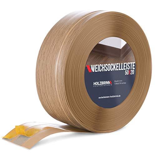 HOLZBRINK Weichsockelleiste selbstklebend EICHE HELL Knickleiste, 50x20mm, 25 Meter