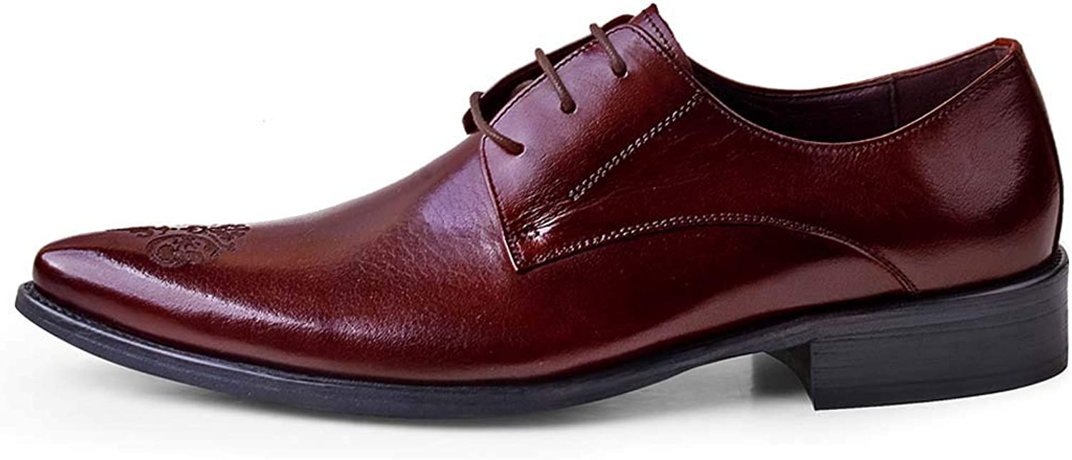 Men's Business Oxford shoes Breathable Brock Carved Dress shoes,Burgundy,45