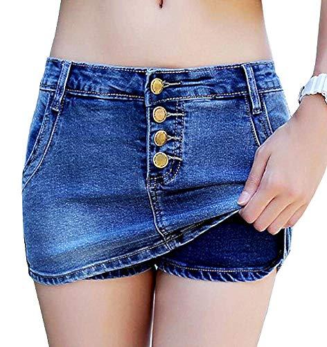 Jeans minirok - shorts - stretch - broek - denim - studs - knopen - vrouwelijk - vrouw - origineel cadeau-idee - donkerblauw - vrouwelijk - meisje