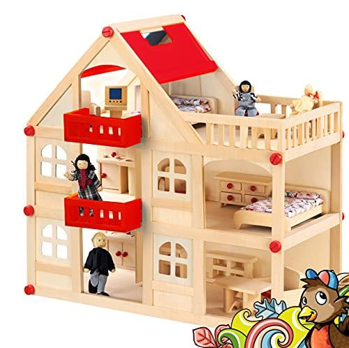 rcee Puppenhaus aus Holz für Puppen, Puppenstube mit 3 Etagen, 4 Puppen und 15...