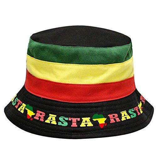 City Hunter Bd1300 Emoji 100 Jamaican Rasta Bucket Hat