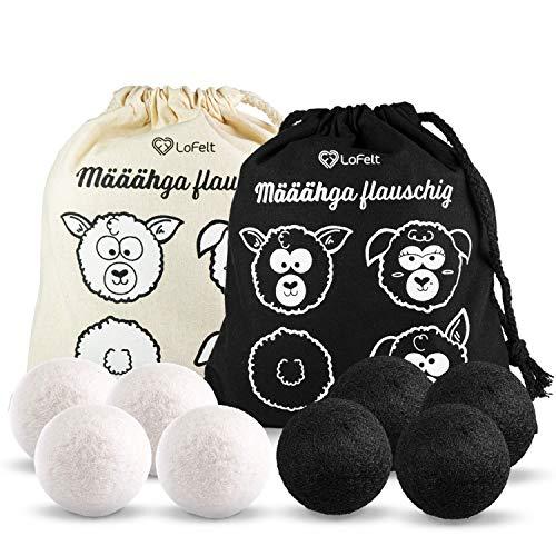LoFelt® Bolas de secado para secadora – Suavizante natural – adecuado para chaquetas de plumón – Secadora de plumón – 100% lana de oveja – secado rápido (8 unidades, blanco y negro)