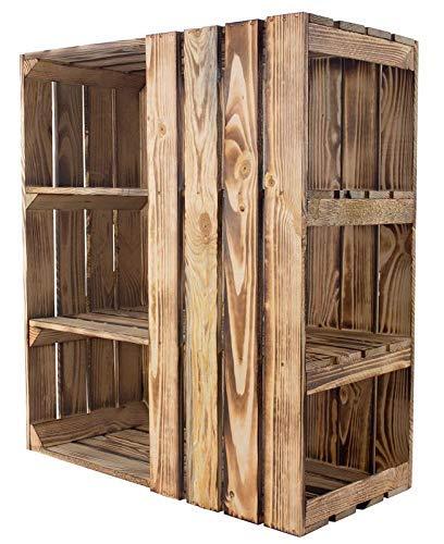 Kontorei® geflammter/brauner Unterbau für Schreibtisch (rechts) 1er Set Holzkiste; Kiste Holzschreibtisch modern rustikal